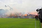 11.08.2019, Stadion Lohmühle, Luebeck, GER, DFB-Pokal, 1. Runde VFB Lübeck vs 1.FC St. Pauli<br /> <br /> DFB REGULATIONS PROHIBIT ANY USE OF PHOTOGRAPHS AS IMAGE SEQUENCES AND/OR QUASI-VIDEO.<br /> <br /> im Bild / picture shows<br /> Anpfiff zum Spiel, die Fans von FC St. Pauli zuenden Pyro.<br /> <br /> Foto © nordphoto / Freund