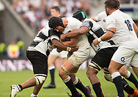 Twickenham, Surrey, United Kingdom. Charlie EWELS, bundled upas he drives towards the line.  during the, Old Mutual Wealth Cup, England vs Barbarian's match, played at the  RFU. Twickenham Stadium, on Sunday   28/05/2017England    <br /> <br /> [Mandatory Credit Peter SPURRIER/Intersport Images]