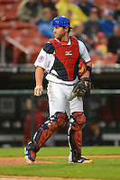 Buffalo Bisons catcher Sean Ochinko #9 during the second game of a double header against the Lehigh Valley IronPigs on June 7, 2013 at Coca-Cola Field in Buffalo, New York.  Lehigh Valley defeated Buffalo 4-0.  (Mike Janes/Four Seam Images)