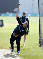 Kent coach Matt Walker takes net practice during the County Championship Division 2 game between Kent and Gloucestershire at the St Lawrence Ground, Canterbury, on Fri 13 Apr, 2018.
