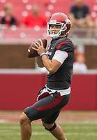 Hawgs Illustrated/BEN GOFF <br /> Ben Hicks, Arkansas quarterback, looks for a receiver in the first quarter Saturday, April 6, 2019, during the Arkansas Red-White game at Reynolds Razorback Stadium.