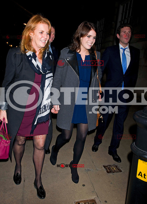 Princess Eugenie and Sarah Ferguson enjoyed a night out together at Lou Lou's club, London, UK. 13/11/2012.<br /> (kadena/NortePhoto)