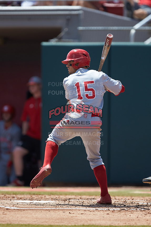 Josh McLain (15) of the North Carolina State Wolfpack at bat against the Northeastern Huskies at Doak Field at Dail Park on June 2, 2018 in Raleigh, North Carolina. The Wolfpack defeated the Huskies 9-2. (Brian Westerholt/Four Seam Images)
