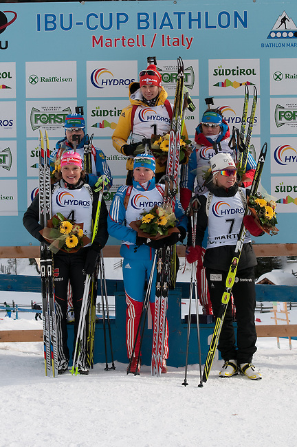 MARTELL-VAL MARTELLO, ITALY - FEBRUARY 03: Winner podium of the Women 10 km Pursuit at the IBU Cup Biathlon 6 on February 03, 2013 in Martell-Val Martello, Italy. (Photo by Dirk Markgraf)