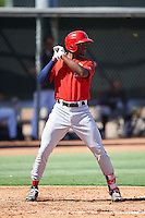 Los Angeles Angels of Anaheim Jimmy Barnes (18) during an Instructional League game against the Colorado Rockies on October 6, 2016 at the Tempe Diablo Stadium Complex in Tempe, Arizona.  (Mike Janes/Four Seam Images)