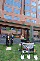 "Ryan Manion Borek (right) speaks at the groundbreaking for the ""Renew. Resolve. Remember."" 9/11 Memorial sculpture, which is incorporating an I-beam from the World Trade Center at the Bucks County Justice Center Wednesday July 1, 2015 in Doylestown, Pennsylvania. On the left is Bucks County Commissioner Charles H. Martin (left) and Bucks County Commissioner Robert G. Loughery. (Photo by William Thomas Cain)"