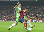 08.01.2014 Barcelona, Spain. Spanish Cup 1/8 Final. Picture show Alexis Sanchez (R) and Roberto Lago (L) in action during game between FC Barcelona against Getafe at Camp Nou