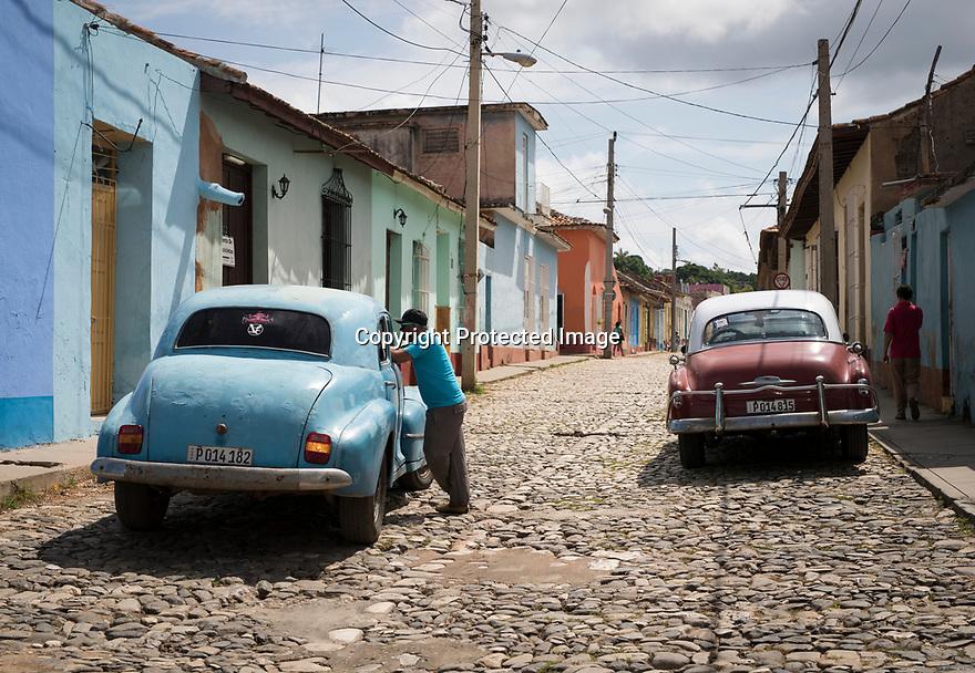 27/07/18<br /> <br /> Old American cars, Trinidad, Cuba.<br /> <br /> All Rights Reserved, F Stop Press Ltd. (0)1335 344240 +44 (0)7765 242650  www.fstoppress.com rod@fstoppress.com