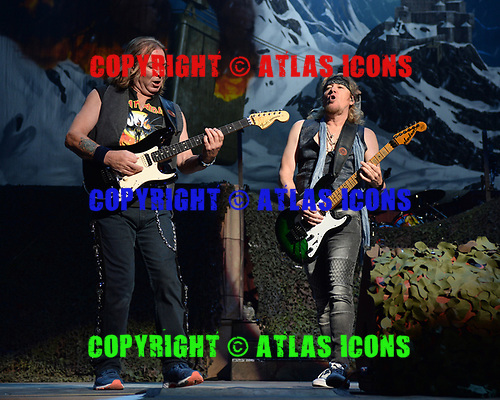 SUNRISE FL - JULY 18: Dave Murray and Adrian Smith of Iron Maiden perform during The Legacy of The Beast Tour at The BB&T Center on July 18, 2019 in Sunrise, Florida. Photo by Larry Marano © 2019