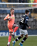 Raith Rovers v Airdrieonians, Scottish League One, 7th December 2019<br /> <br /> Pictured: Airdrie goalkeeper David Hutton and Kieron Bowie (Raith Rovers, navy)<br /> <br /> (c) Alex Todd   SportPix.org.uk
