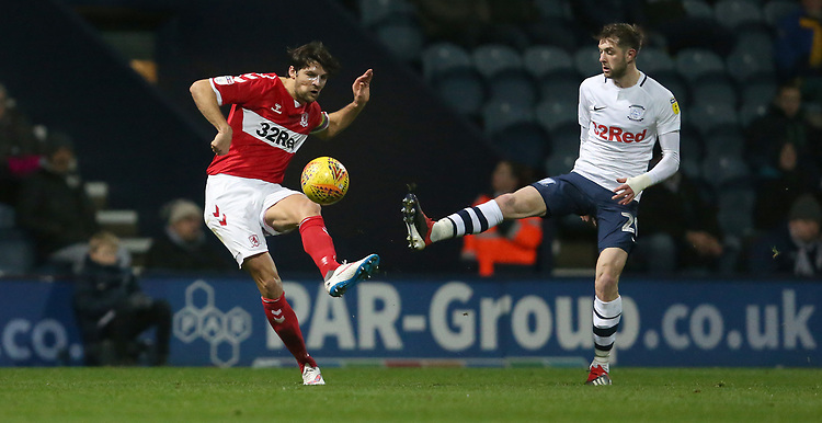 Middlesbrough's George Friend and Preston North End's Tom Barkhuizen<br /> <br /> Photographer Stephen White/CameraSport<br /> <br /> The EFL Sky Bet Championship - Preston North End v Middlesbrough - Tuesday 27th November 2018 - Deepdale Stadium - Preston<br /> <br /> World Copyright © 2018 CameraSport. All rights reserved. 43 Linden Ave. Countesthorpe. Leicester. England. LE8 5PG - Tel: +44 (0) 116 277 4147 - admin@camerasport.com - www.camerasport.com