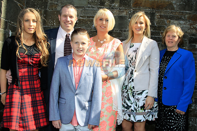 Dylan Cassidy with Fiona, Liam, Leanna, Adrianna and Yvonne Cassidy during Confirmation at St. Michael's Clogherhead on Saturday 9th May 2015.<br /> Picture:  Thos Caffrey / www.newsfile.ie