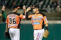 Heber Gomez festeja triunfo de naranjeros , durante el juego a beisbol de Naranjeros vs Cañeros durante la primera serie de la Liga Mexicana del Pacifico.<br /> 15 octubre 2013