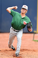 Fort Wayne TinCaps pitcher Cody Hebner (6) throws a bullpen session before a game against the Lake County Captains on August 21, 2014 at Classic Park in Eastlake, Ohio.  Lake County defeated Fort Wayne 7-8.  (Mike Janes/Four Seam Images)