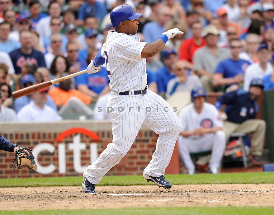 MARLON BYRD, of the Chicago Cubs, in action during the Cubs game against the Milwaukee Brewers at Wrigley Field in Chicago, Illinois  on April 15, 2010...The Brewer win 8-6