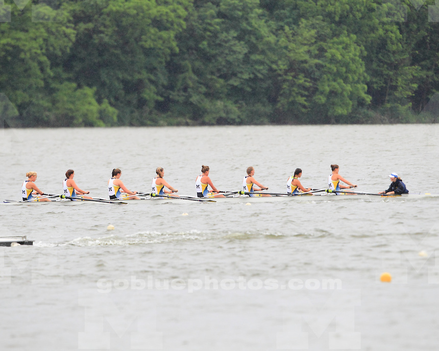 The University of Michigan rowing team advanced two boats to the petite finals at the NCAA Championships at Eagle Creek Park in Indianapolis, Ind., on June 1, 2013.