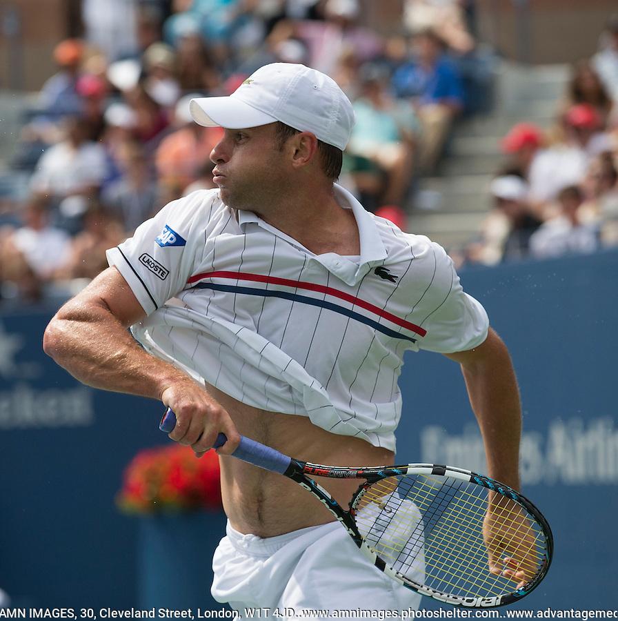 Andy Roddick..Tennis - US Open - Grand Slam -  New York 2012 -  Flushing Meadows - New York - USA - Sunday 2nd September  2012. .© AMN Images, 30, Cleveland Street, London, W1T 4JD.Tel - +44 20 7907 6387.mfrey@advantagemedianet.com.www.amnimages.photoshelter.com.www.advantagemedianet.com.www.tennishead.net