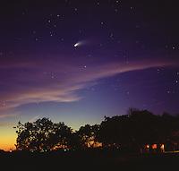 Comet Hale Bopp at sunset.<br /> <br /> Hassleblad 500C/M, 80mm lens, Fuji NPH 400 film