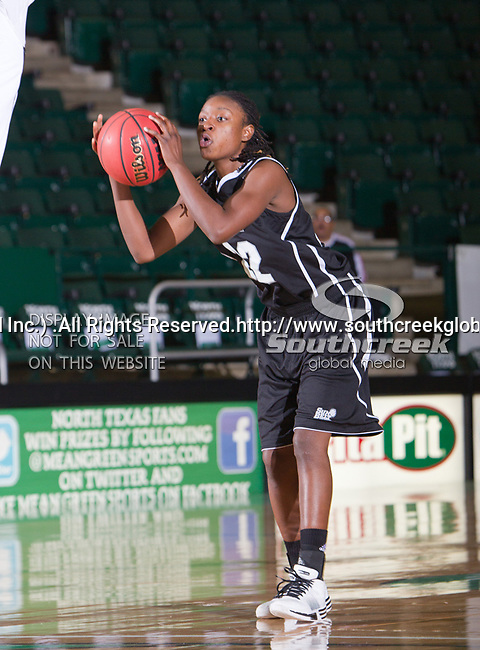 Troy Trojans guard DeAngela Sword (22) in action during the game between the Troy Trojans and the University of North Texas Mean Green at the North Texas Coliseum,the Super Pit, in Denton, Texas. UNT defeats Troy 57 to 36.