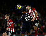 Oliver Norwood and John Egan of Sheffield Utd mark Sebastien Haller of West Ham United during the Premier League match at Bramall Lane, Sheffield. Picture date: 10th January 2020. Picture credit should read: Simon Bellis/Sportimage