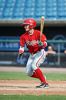 Pedro Perez Jr #1 of Burlington City High School in Burlington City, New Jersey playing for the Philadelphia Phillies scout team during the East Coast Pro Showcase at Alliance Bank Stadium on August 2, 2012 in Syracuse, New York.  (Mike Janes/Four Seam Images)