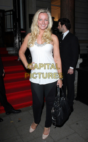 MICHELLE MONE.The Sun's new magazine 'Buzz' launch at Il Bottacio, London, England. .September 15th, 2010 .full length grey gray black white top trousers hand on hip .CAP/ROS.©Steve Ross/Capital Pictures