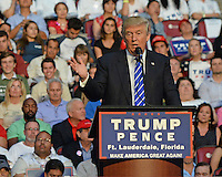 SUNRISE, FL - AUGUST 10: Former Rep. Mark Foley (R-Fla.) sat behind Republican Presidential Candidate Donald Trump as he speaks during rally at The BB&T Center on August 10, 2016 in Sunrise Florida.  MPI04 / Mediapunch