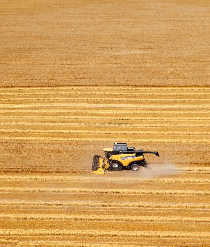 Photo: Richard Lane/Richard Lane Photography. New Holland combine harvester cutting winter barley near Pewsey, Wiltshire. 22/07/2014.
