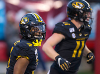 Hawgs Illustrated/BEN GOFF <br /> Jonathan Nance, Missouri wide receiver, reacts after making a touchdown catch in the fourth quarter vs Arkansas Saturday, Nov. 29, 2019, at War Memorial Stadium in Little Rock.
