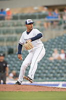 Northwest Arkansas Naturals pitcher Gerson Garabito (15) delivers a pitch on May 16, 2019, at Arvest Ballpark in Springdale, Arkansas. (Jason Ivester/Four Seam Images)