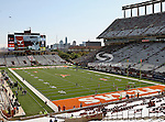 The Texas Longhorns Stadium with downtown Austin in the background before the game between the Brigham Young Cougars and the Texas Longhorns at the Darrell K Royal - Texas Memorial Stadium in Austin, Texas. Texas defeats Brigham Young 17 to 16..