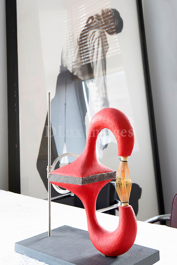 Modern red sculpture