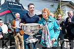 Marc Ó Sé and Mairín Ní Dhuinnshléibhe Uí Bheolain (originally from the Blascaoad) carrying Sam Maguire onto the stage during the unveiling of Paidí Ó Sé statue at Ard an Bothair, Ventry, on Saturday afternoon.