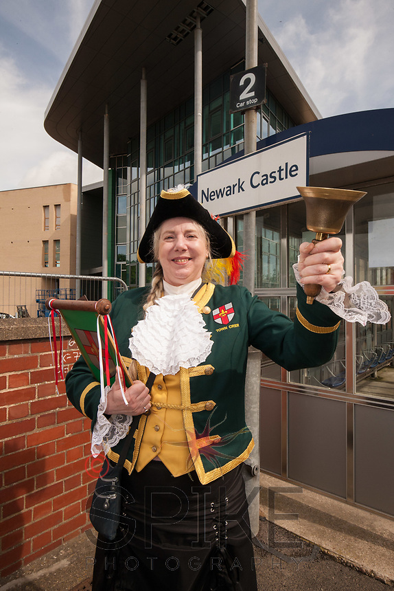 Lincoln Town Crier Karen Crow at the launch of the new Lincoln to Nottingham train timetable