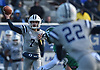 Charlie McKee #7, Oceanside freshman quarterback, targets wide receiver Nick Platia #22 during the second quarter of the Nassau County football Conference I semifinals against Farmingdale at Shuart Stadium in Hempstead on Saturday, Nov. 10, 2018.