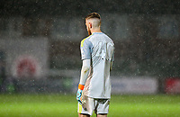 Rain falls heavily on Leicester City U21s' Viktor Johansson<br /> <br /> Photographer Alex Dodd/CameraSport<br /> <br /> The EFL Checkatrade Trophy - Northern Group B - Fleetwood Town v Leicester City U21 - Tuesday September 11th 2018 - Highbury Stadium - Fleetwood<br />  <br /> World Copyright &copy; 2018 CameraSport. All rights reserved. 43 Linden Ave. Countesthorpe. Leicester. England. LE8 5PG - Tel: +44 (0) 116 277 4147 - admin@camerasport.com - www.camerasport.com