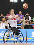 November 18 2011 - Guadalajara, Mexico:   Patrick Anderson of Team Canada passes the ball in the CODE Alcalde Sports Complex at the 2011 Parapan American Games in Guadalajara, Mexico.  Photos: Matthew Murnaghan/Canadian Paralympic Committee