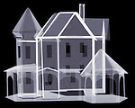X-ray image of a paper house (blue on black) by Jim Wehtje, specialist in x-ray art and design images.