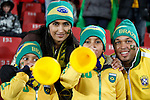 15 JUN 2010: Brazil fans with vuvuzelas in the stands, pregame. The Brazil National Team played the North Korea National Team at Ellis Park Stadium in Johannesburg, South Africa in a 2010 FIFA World Cup Group G match.