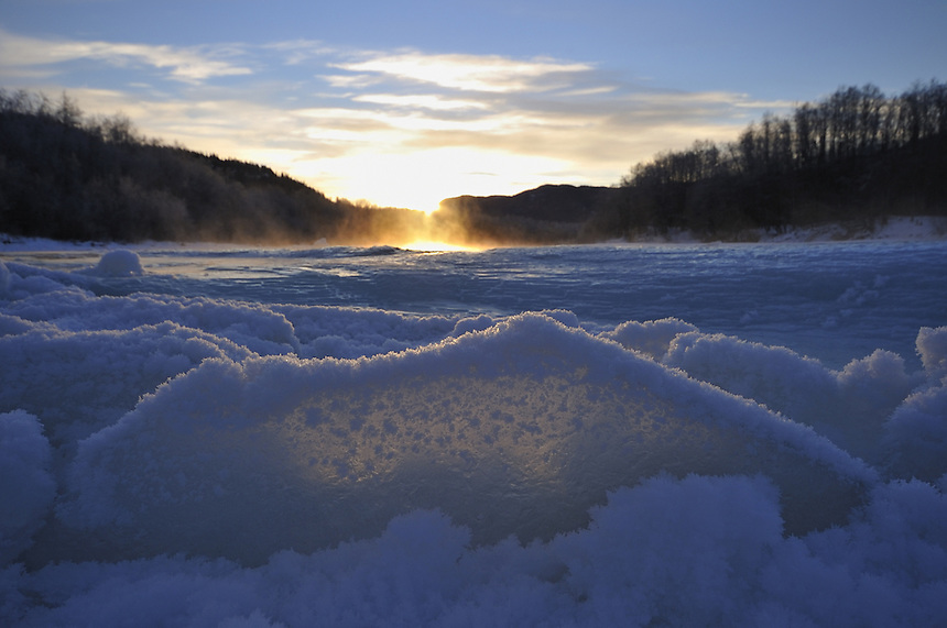 Winter evening on Gaula river,Norway Landscape, landskap,