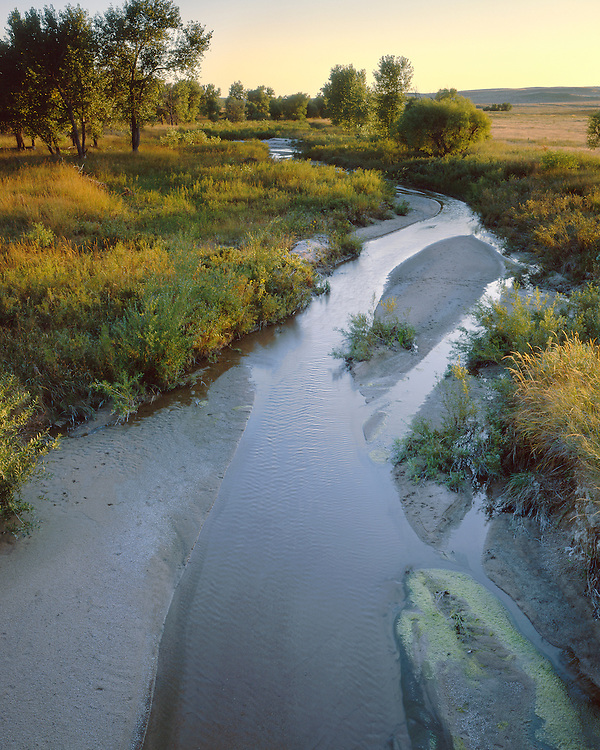Sunset light on the Arikaree River in eastern Colorado; Sandy Bluffs Wildlife Management Area, CO