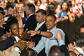 United States President Barack Obama greets supporters at the Bridgeport Arts Center in Chicago, Illinois during a fundraising event celebrating his birthday, August 12, 2012..Credit: Ralf-Finn Hestoft / Pool via CNP