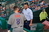 Garrett Jones talks with Dean Anna (8) before a game between the Rochester Red Wings and the Lehigh Valley IronPigs on June 30, 2018 at Frontier Field in Rochester, New York.  Lehigh Valley defeated Rochester 6-2.  (Mike Janes/Four Seam Images)