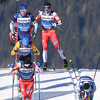 1st January 2020, Toblach, South Tyrol , Italy;  Iivo Niskanen of Finland back , Lucas Boegl of Germany, Sjur Roethe of Norway in front and Christer Hans Holund  of Norway during mens cross country skiing 15 km classic style pursuit at the FIS Tour de Ski event in Toblach, Italy on January 1, 2020.