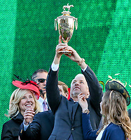 LOUISVILLE, KY - MAY 06: Trainer Todd Pletcher holds up the winner's trophy after  Always Dreaming #5 won the Kentucky Derby on Kentucky Derby Day at Churchill Downs on May 6, 2017 in Louisville, Kentucky. (Photo by Candice Chavez/Eclipse Sportswire/Getty Images)
