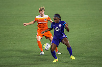Orlando, FL - Thursday June 23, 2016: Rebecca Moros, Jamia Fields during a regular season National Women's Soccer League (NWSL) match between the Orlando Pride and the Houston Dash at Camping World Stadium.