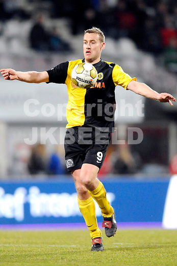 EMMEN - FC Emmen - BV Veendam, Jupiler League, Unive stadion,  seizoen 2010-2011, 11-03-2011  Veendam speler Marnix Kolder.
