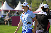 Carlota Ciganda (ESP) on the 18th green during Thursday's Round 1 of The Evian Championship 2018, held at the Evian Resort Golf Club, Evian-les-Bains, France. 13th September 2018.<br /> Picture: Eoin Clarke | Golffile<br /> <br /> <br /> All photos usage must carry mandatory copyright credit (© Golffile | Eoin Clarke)