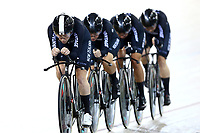 Racquel Shaeth leads out front in the WE TP during the UCI Track Cycling World Cup on January 18, 2019 in Cambridge New Zealand. (Photo by Dianne Manson)