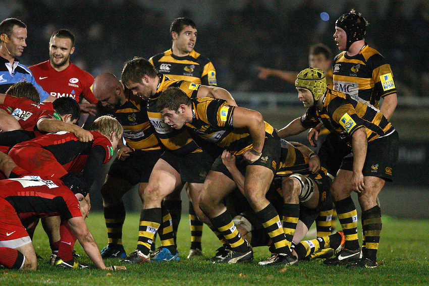 Photo: Richard Lane/Richard Lane Photography. Wasps A v Saracens Stormers. Aviva A League. 28/11/2011. Wasps' front row (lt to rt), Jeremy Castrex , Nathan Morris and Bob Baker.